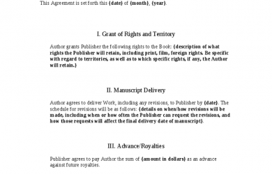 printable menu template book publishing contract