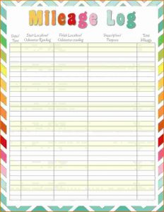 printable mileage log printable mileage log ddddeffbeaa