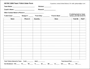 printable order form template excel shirt order form template