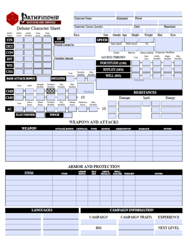 printable pathfinder character sheet