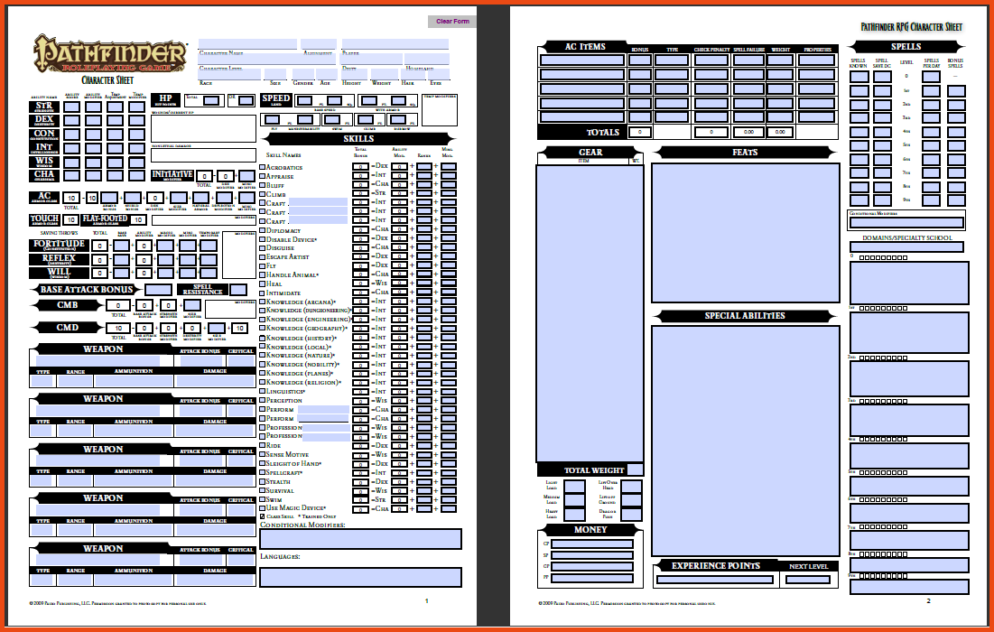 It is a graphic of Clean Printable Pathfinder Character Sheet