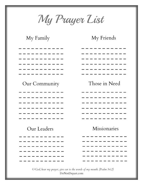prayer lists template