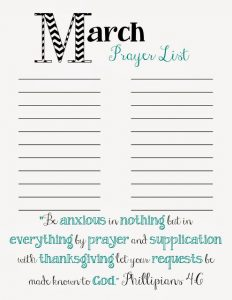 printable prayer list reso march prayer list
