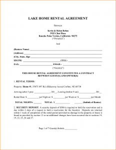 printable rental agreement house rental agreement