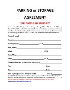 printable rental agreement parking and storage agreement
