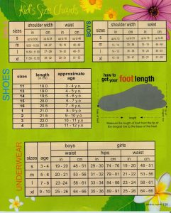 printable shoe size chart kids size j
