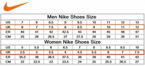 printable shoe size chart nike shoes sizing chart