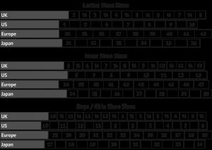 printable shoe size chart shoe size chart for conversion