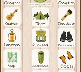 printable time cards camping vocabulary poster free recources printables for kids