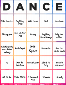 printable time sheet dance bingo
