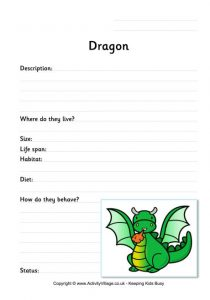printable time sheet dragon worksheet