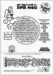 printable time sheet super mario word search