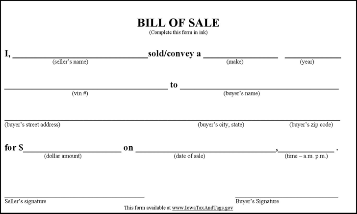 printable vehicle bill of sale