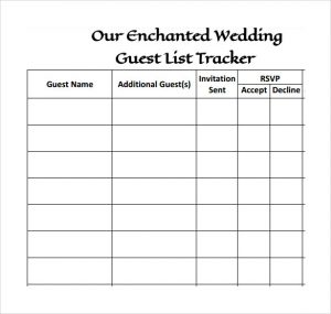 printable wedding guest list other templates easy to use and simple wedding guest tacker template with table layout