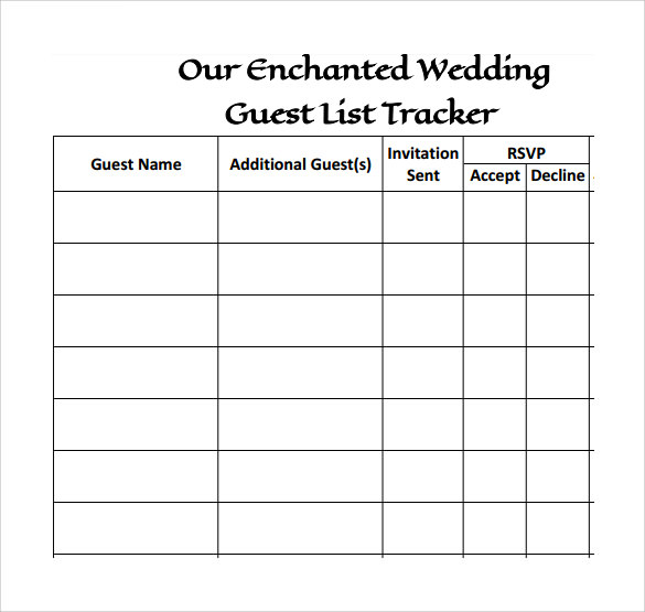 Printable Wedding Guest List  Printable Wedding Guest List Spreadsheet