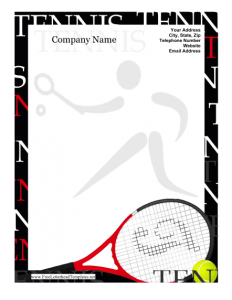 printed newsletter template tennis letterhead