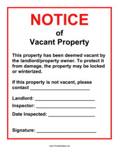 printed newsletter template vacant property notice
