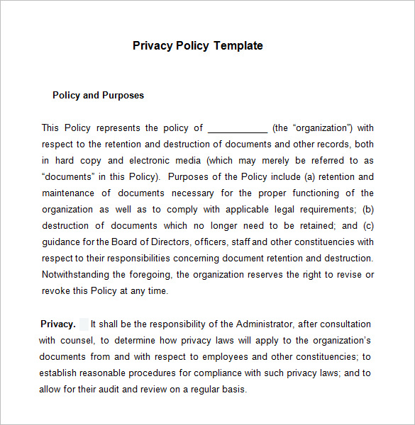 Computer Use Policy Template Privacy Policy Example Template Business