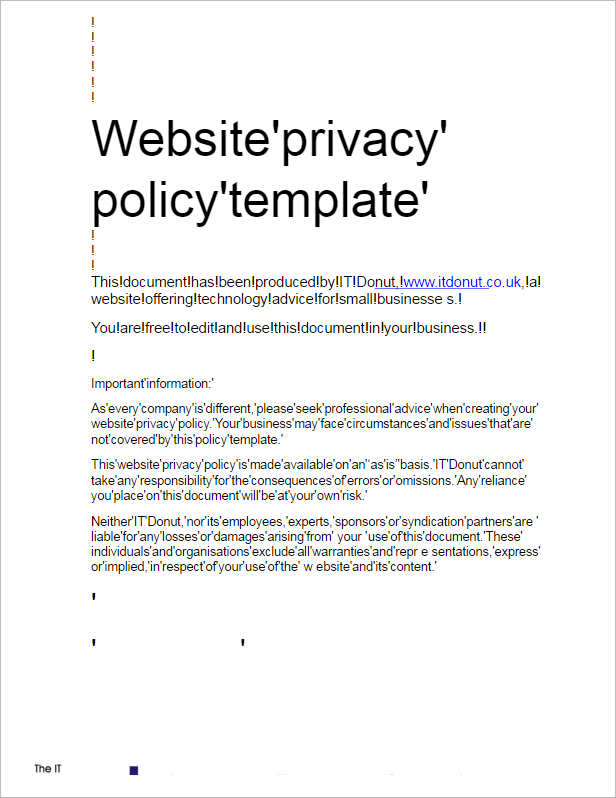 Privacy policy example template business for Corporate privacy policy template