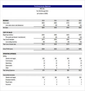pro forma income statement template excel template for pro forma income statement