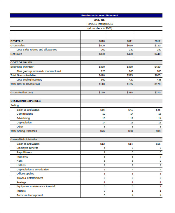 pro forma income statement template