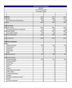 pro forma template pro forma income statement template excel