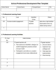 professional development plan examples school professional development plan template