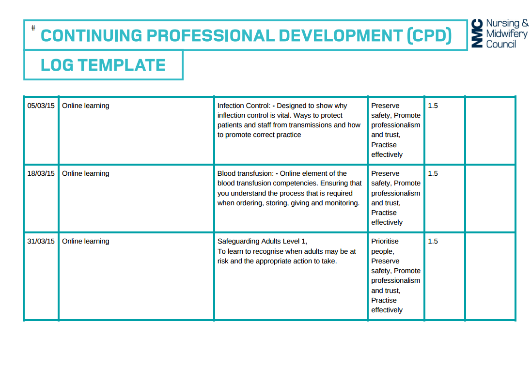 professional development plan samples