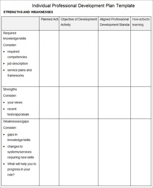 Professional Development Plan Template  Template Business