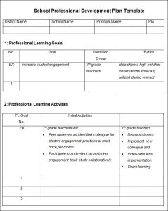 professional development plans examples school professional development plan template