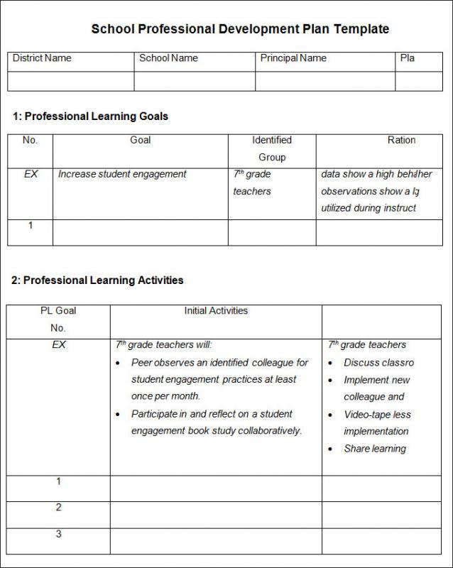 professional development plans examples