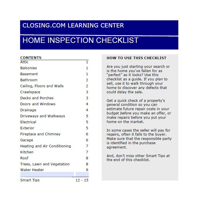 professional home inspection checklist