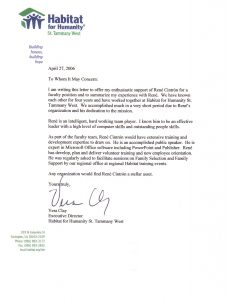 professional letter of recommendation hfh recommendation