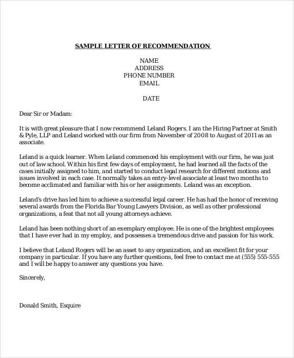 Professional Letter Of Recommendation  Template Business