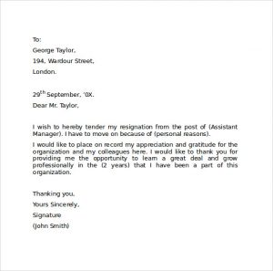 professional letter of resignation professional resignation letter format