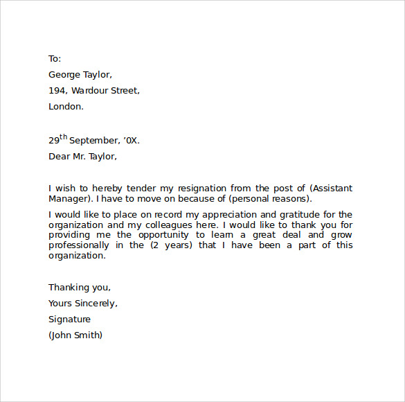 Professional Letter Of Resignation  Template Business