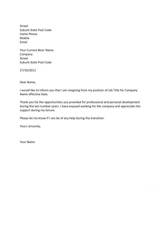 basic resignation letter professional letter of resignation template business 20568