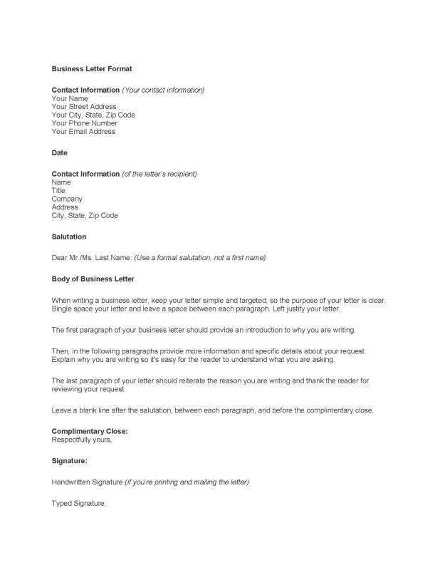 Format Of A Professional Letter  BesikEightyCo
