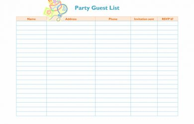 professional reference list template party guest list template