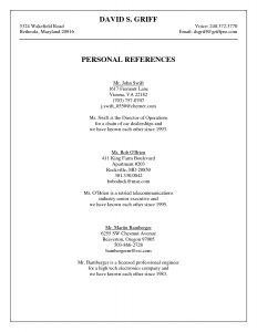 Professional References Template Job Resume References Page Download  Template Download Resume
