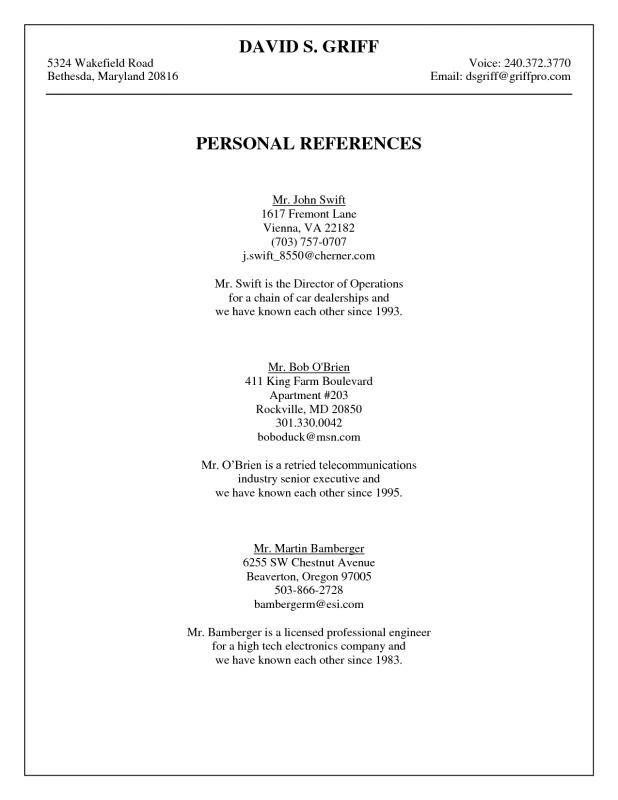 Professional References Template Template Business