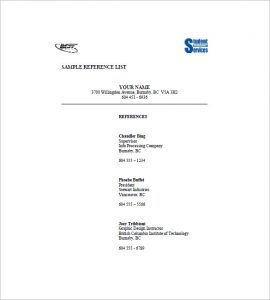 professional references template professional reference list template