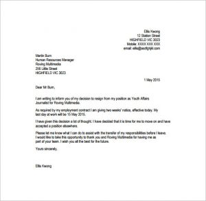 professional resignation letter journalist professional resignation letter free pdf template