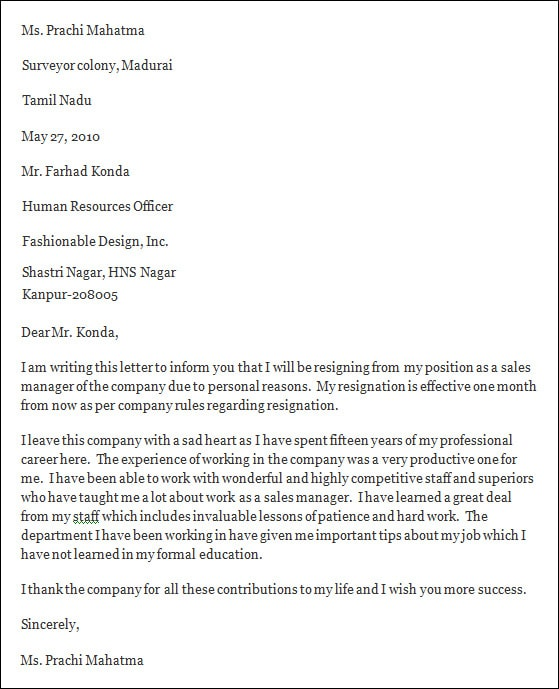 Professional Resignation Letter Template Business