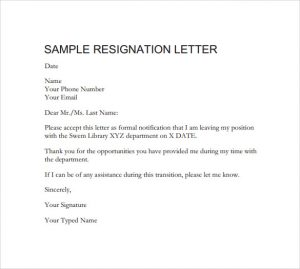 professional resignation letter sample downloadable formal resignation letter