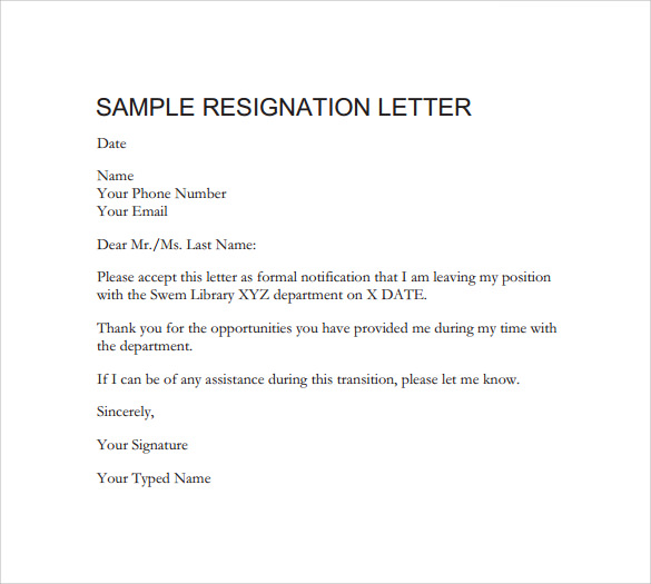 Professional Resignation Letter Sample | Template Business