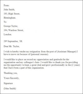 professional resignation letter sample professional resignation letter