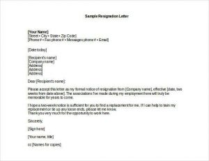 professional resignation letter sample professional resignation letter sample doc