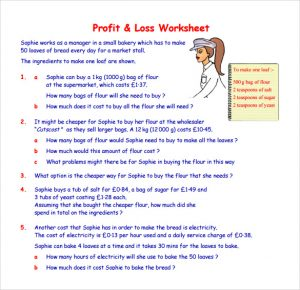 profit and loss statement for self employed profit and loss worksheet template