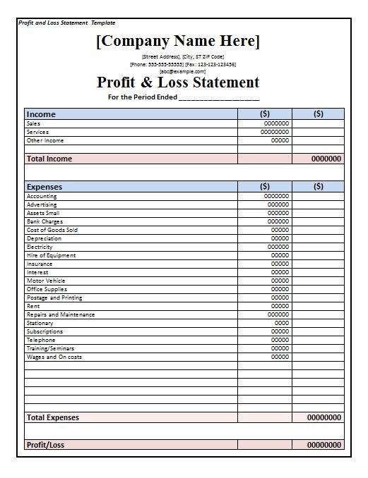 profit and loss form pdf